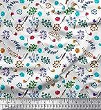 Soimoi Weiß Poly Krepp Stoff Blätter, Blumen und Beeren