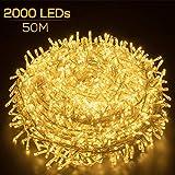 Elegear Luci Natale Esterno 50M 2000 LEDs Impermeabile Catena Luminosa LED Illuminazione di Natale per Camere da Letto Giardino Feste Matrimonio