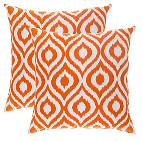TreeWool, (Pack of 2) Cotton Canvas Ikat Ogee Accent Decorative Cushion Covers (45 x 45 cm, Orange &