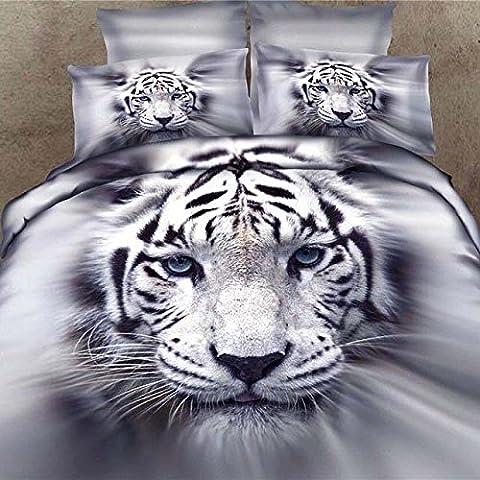 100% coton impression réactive 3D Motif tigre Parure de lit 4pièces