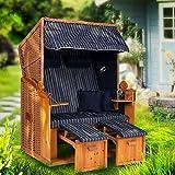 Möbelcreative Strandkorb Ostsee XXL Volllieger 2 Sitzer - 120 cm breit - blau weiß gestreift inklusive Schutzhülle, ideal für Garten und Terrasse