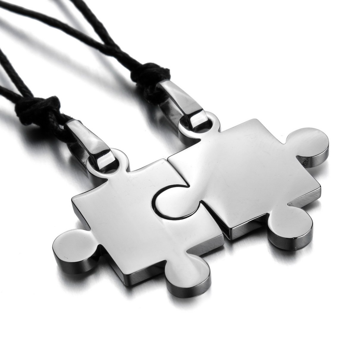 MunkiMix 2 PCS Stainless Steel Pendant Necklace Black Jigsaw ...