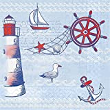 Sovie HORECA Serviette Meeresbrise   Tissue Deluxe® 4-lagig 40x40 cm   Mediterran Urlaub Meer Leuchtturm   50 Stück