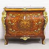 Casa Padrino Barockstil Kommode mit 3 Schubladen und Marmorplatte in braun/Gold / schwarz 120 x 50 x H. 95 cm - Möbel im Antik Stil