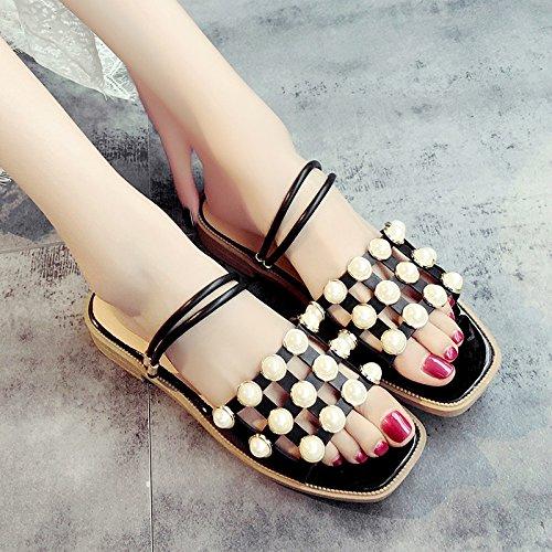 XY&GKWomen's Cool Hausschuhe Sommer Sandalen Student Badeschuhe Sommer Schuhe 36 black