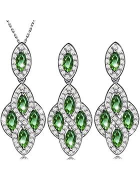 Dawanza - Gold ¨¹berzogene Kristallschmucksache-Satz f¨¹r Frauen - Modische Halskette und Ohrringe