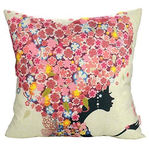 Luxbon Herz-Form Blume Maedchen Schmetterling Kissenbezug Lendenkissen Wurfkissenbezug Pillowcase Cafe Haus Zimmer Auto Deko 45 x 45 cm (Mädchen Blume Bewässerung)