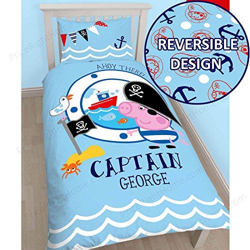 Peppa Pig George Pirata solo Panel de edredón y almohada
