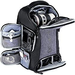 Beschoi Sac pour Appareil Photo, Sac à Dos Photo Grande Capacité Imperméable avec Housse Etanche Inclus pour DSLR Caméra Canon Nikon Sony