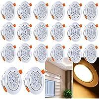 Hengda® 20X Ojos de buey Luz de Techo foco empotrable extraplano - Aluminio satinado - LED foco empotrable profundidad de agujero H40   7W Blanco cálido 2800-3200K - 560±15LM   Con bombilla, Base, Muelle, Pestaña   Diseño original