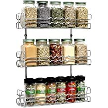 Callas 3 Tier Wall Mounted Spice Rack Kitchen Organiser, Chrome Ca. 67