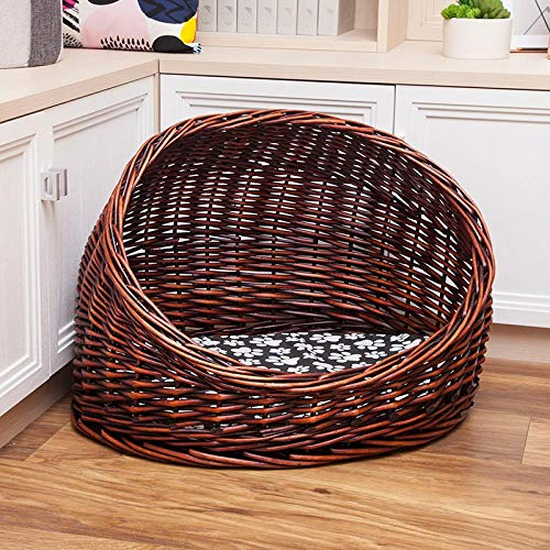 SHIYID Wicker Pet Rattan Kennel New Cat House Cat Litter Cat Room Cage Removable and Washable Cat Willow Dog Tent -