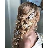 Simsly - Mollette per capelli da sposa, con fiore e accessori per capelli per donne e ragazze (3 pezzi)