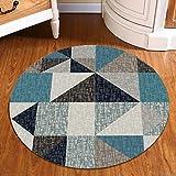 Paon bleu nordique Triangle tapis rond chambre tapis doux confortable confortable...