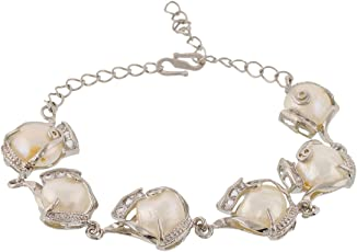 VAMA FASHIONS Single Line Real white Pearl Braclet for Women -Girls.