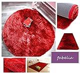 Hochflor Teppich Shaggy Gentle Luxus - Satin Luxury - Weich und Handgetuftet/In vielen bunten Farben (80 cm x 80 cm rund, Rot)