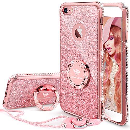 Cover iphone 6 plus/6s plus glitter strass per ragazze,neck strap e kickstand bling silicone diamante brillante cristallo lucciante luminosa custodia per iphone 6 plus/6s plus 5.5 inch-oro rosa