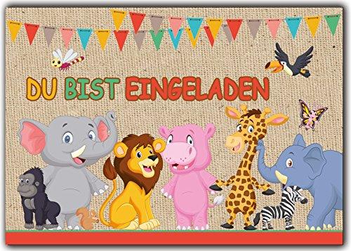 12er-Set Einladungskarten Kindergeburtstag wilde Tiere Zoo Löwe Elefant Giraffe Affe Zebra Jungen Mädchen Kinder Geburtstag lustig witzig ausgefallen