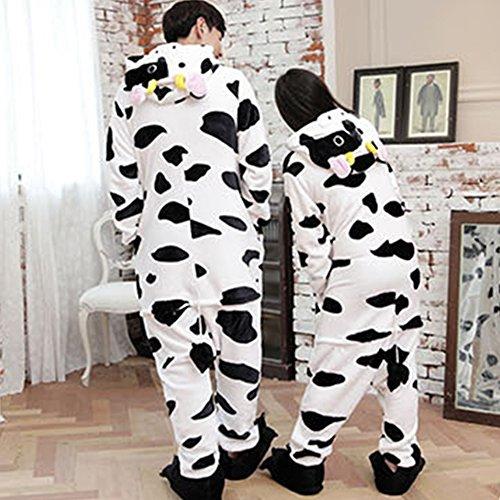 Costume halloween costume cosplay con cappuccio Pigiama adulto Pigiama mucca come mostrato