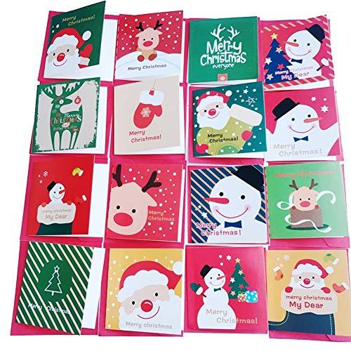 ßkarte 128Pcs Mit Umschlägen Mit Feiertags-Wunsch-Karte Weihnachtsmann-Satz-Weihnachtsfrohes Jahr-Minikarte 8.5Cm ()