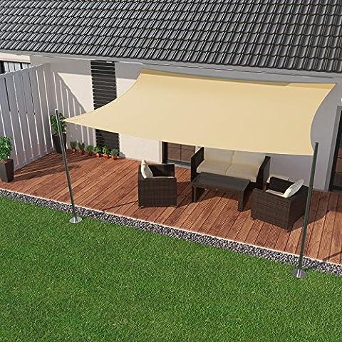 IBIZSAIL Premium Sonnensegel - Viereck (rechteckig) - 500 x 400 cm - CREME - wasserabweisend (inkl.