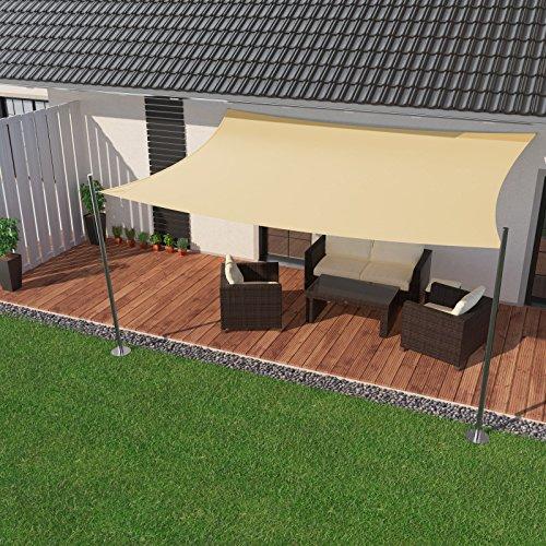 IBIZSAIL Premium Sonnensegel - Viereck (rechteckig) - 400 x 300 cm - Creme - Wasserabweisend (inkl. Spannseilen)
