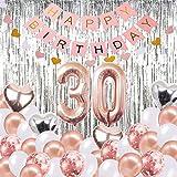 30. Geburtstag Dekorationen Banner Ballon, Alles Gute zum Geburtstag Banner, 30. Rose Gold Anzahl Luftballons, Nummer 30 Geburtstag Luftballons, 30 Jahre alt Geburtstag Dekoration Lieferungen