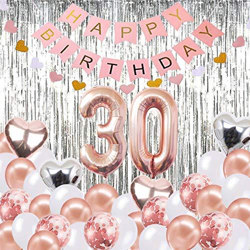 ationen Banner Ballon, Alles Gute zum Geburtstag Banner, 30. Rose Gold Anzahl Luftballons, Nummer 30 Geburtstag Luftballons, 30 Jahre alt Geburtstag Dekoration Lieferungen ()
