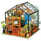 Robotime Dollhouse Kit Renovación de Muebles Kit de Construcción de madera Mini Handmade DIY casa con luces y accesorios Decoración en miniatura modelo Decoración Regalo de Navidad (casa de la flor de Cathy)