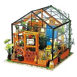 ROBOTIME Giocattoli per bambini, mini diorama Handmade casa fai da te con luci e accessori-Casa fiorita per ragazzi e ragazze per giocare-miniatura regalo creativo di Natale compleanno
