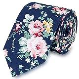 JewelryWe Herren Klassiche Blumen Floral Muster Schmale Krawatte aus Baumwolle & Polyester für Freizeit Alltag #2