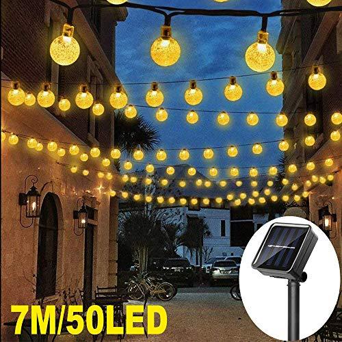 Catena Luminosa Esterno Solare, 7M 50 LED Ghirlanda Luci Esterno Energia Solare Impermeabile illuminazione 8 Modalità per Natale, Giardino, Portico, Albero, Matrimonio, Festa