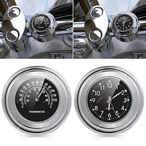 Ictronix Universal Motorraduhr Uhr Uhren Motorrad Lenker Thermometer Temp 25/22M schwarz Aluminium 7/8