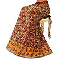 Vintage Red Wedding Lehenga Georgette India Etnica in rilievo nuziale utilizzato a lungo Gonna