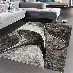 UN AMOUR DE TAPIS - Tapis moderne 1066 - Tapis chambre madila - gris, noir, bleu - 120 x 170 cm