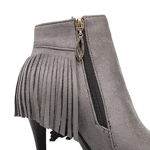 VogueZone009 Damen Reißverschluss Spitz Zehe Hoher Absatz Knöchel Hohe Stiefel mit Fransig Grau