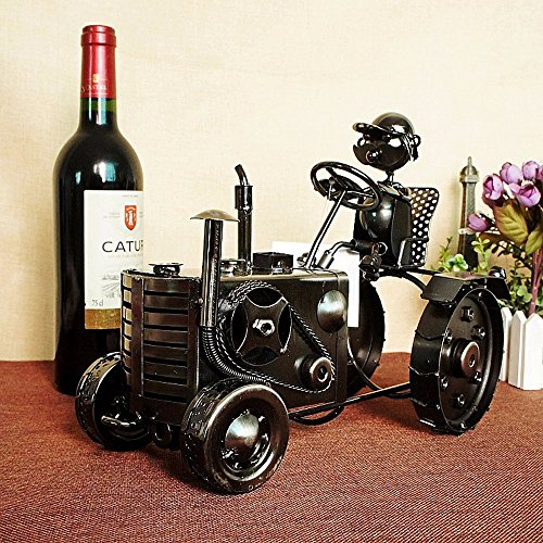 Amadoierly Wine Rack antiken Beschichtung schwarz Traktor Bügeleisen Home Decoration