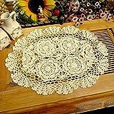 Yazi Ovale Untersetzer Tischsets von Hand gehäkelt Blume Spitzendeckchen für Küche Dekoration Beige 30x 45cm