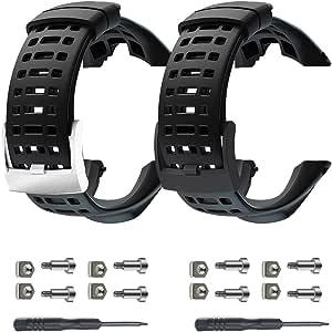 Vindar Bracelet de montre, Lot de 2 flexibles en caoutchouc montre bracelet Sangle de bandes de rechange pour Suunto Ambit 122S2R3 Sport3 Run3