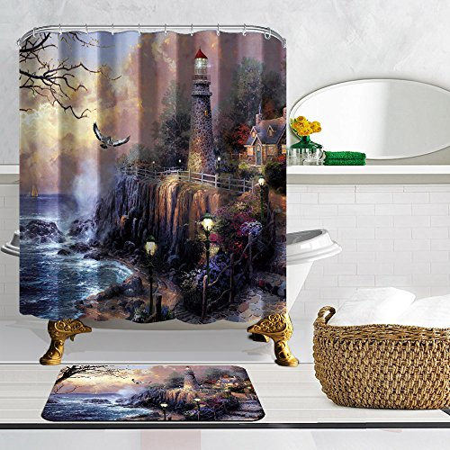 nymb der Adler und der Leuchtturm im Meer 175,3x 177,8cm Schimmelresistent Polyester Stoff Vorhang für die Dusche Anzug mit 40x 60cm Flanell rutschfeste Fußmatte