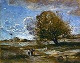 Kunst für Alle Reproduction/Poster: Jean-Baptiste-Camille Corot Landschaft in der Picardie - Affiche, Reproduction Artistique de Haute qualité, 50x40 cm...