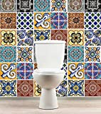 Talavera Fliesenaufkleber Mexikanische Wanddeko Badezimmer Ideen (Packung mit 36) - 15 x 15 cm