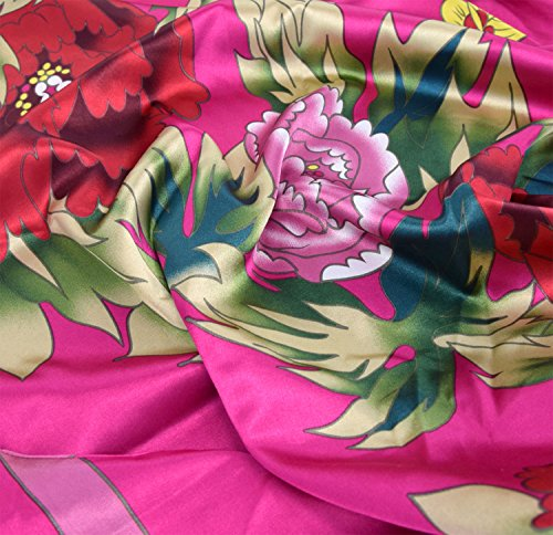 Robe d'intérieur kimono femme - robe de chambre style boubou satiné Fuschia