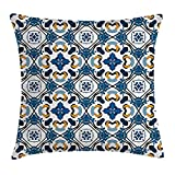 MLNHY Traditional House Decor Throw Pillow Cushion Cover, Portuguese Ceramic Tilework Building Artisan European Inspired Print, Decorative Square Accent Pillow Case, 18 X 18 inches, Royal Blue