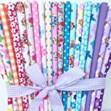 Always Knitting And Sewing - 20 piece polycotton bundle of butterflies florals & spotty fabrics 25cm x 25cm