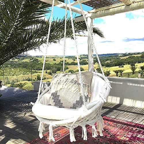 Sedia sospesa ad altalena, lavorata a maglia con corda in cotone con romantiche frange macrame', sedia amaca ad altalena per interni/esterni, patio, terrazzi, cortile, giardino, bar, capacità 120 kg