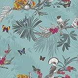 Arthouse - Papier peint forêt mystique feuille oiseau papillon - Bleu sarcelle 664801