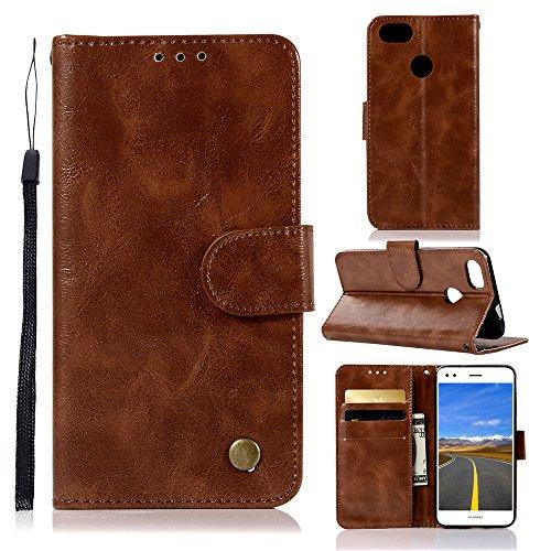 Mini Leder-id-fall (Tophung Huawei P9Lite Mini Case, P6Pro 2017Case Premium Retro PU Leder Flip Notebook Wallet Case mit Ständer Kreditkarte ID Slot Halterung Magnetverschluss schutztasche Slim Haut Cover)