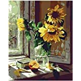 Pintar por números para adultos flores Girasol - Pintura para pintar por números con pinceles y colores brillantes - Pre Dibu