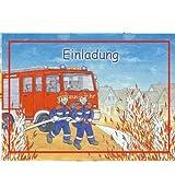 6 Einladungskarten Feuerwehr